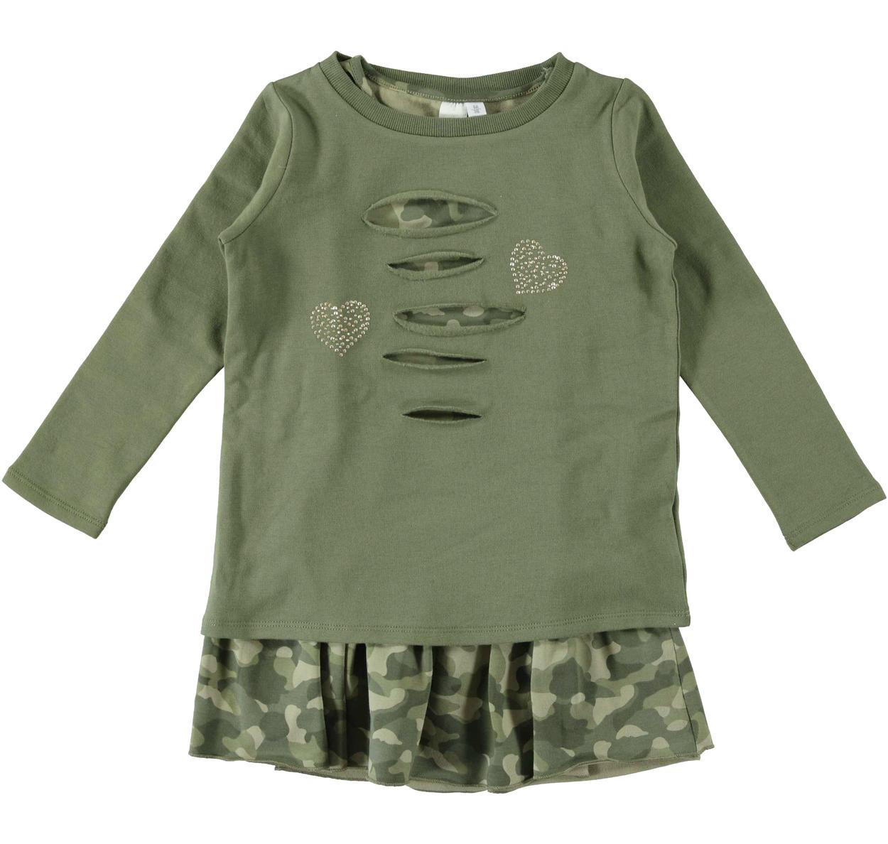Vestitino bambina due pezzi con maglietta con cuori di borchie vestibilità  da 3 a 16 anni iDO 85ce0cffbe8