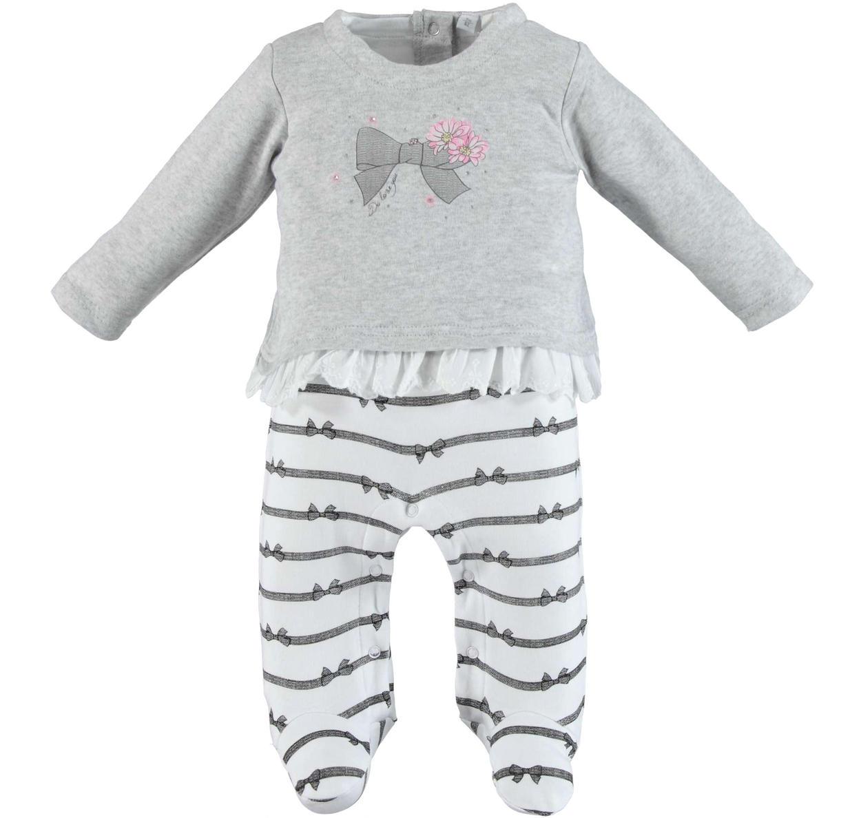 31a0a9654f Tutina intera 100% cotone leggero per neonata da 0 a 18 mesi iDO ...