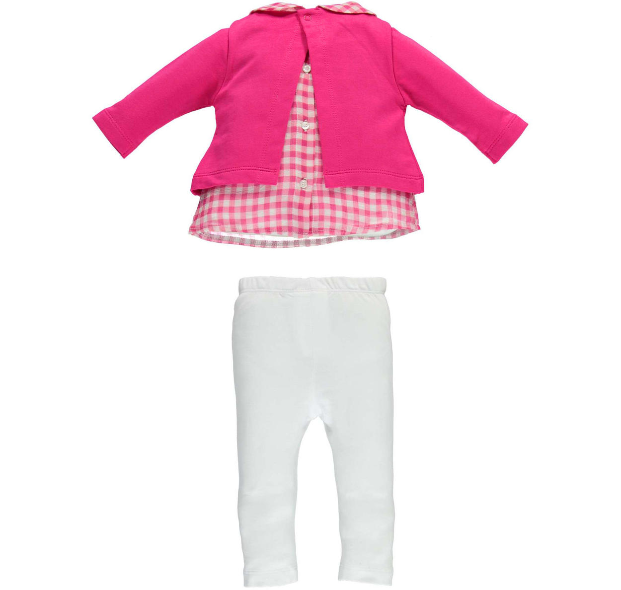 Completo 100% cotone maglietta effetto camicia e leggings per neonata da 0 a 18 mesi iDO