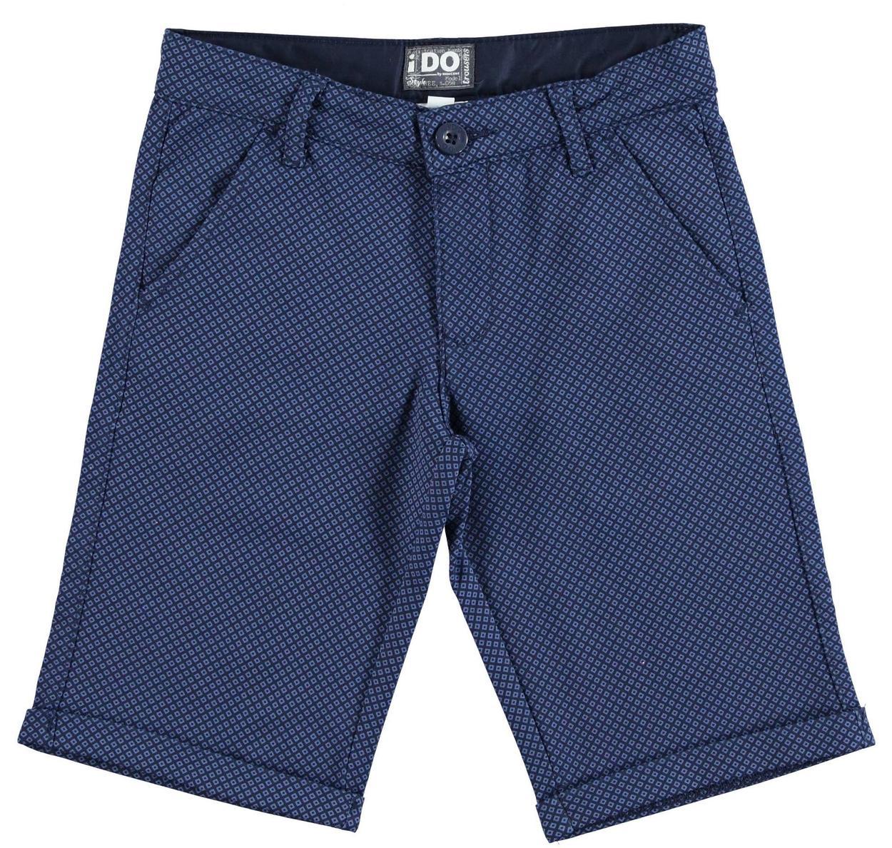 Pantalone corto modello chinos fantasia geometrica per bambino da 6 a 16 anni iDO