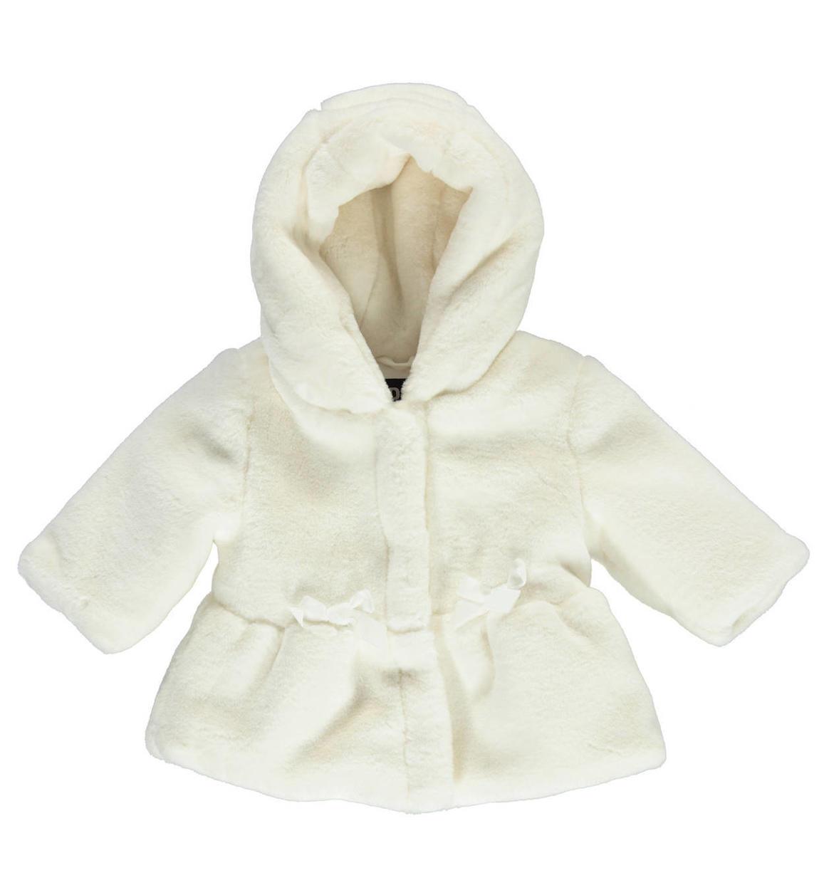 san francisco 17df7 285fd Elegante giacca in pelliccia ecologica con cappuccio per neonata da 0 a 18  mesi iDO