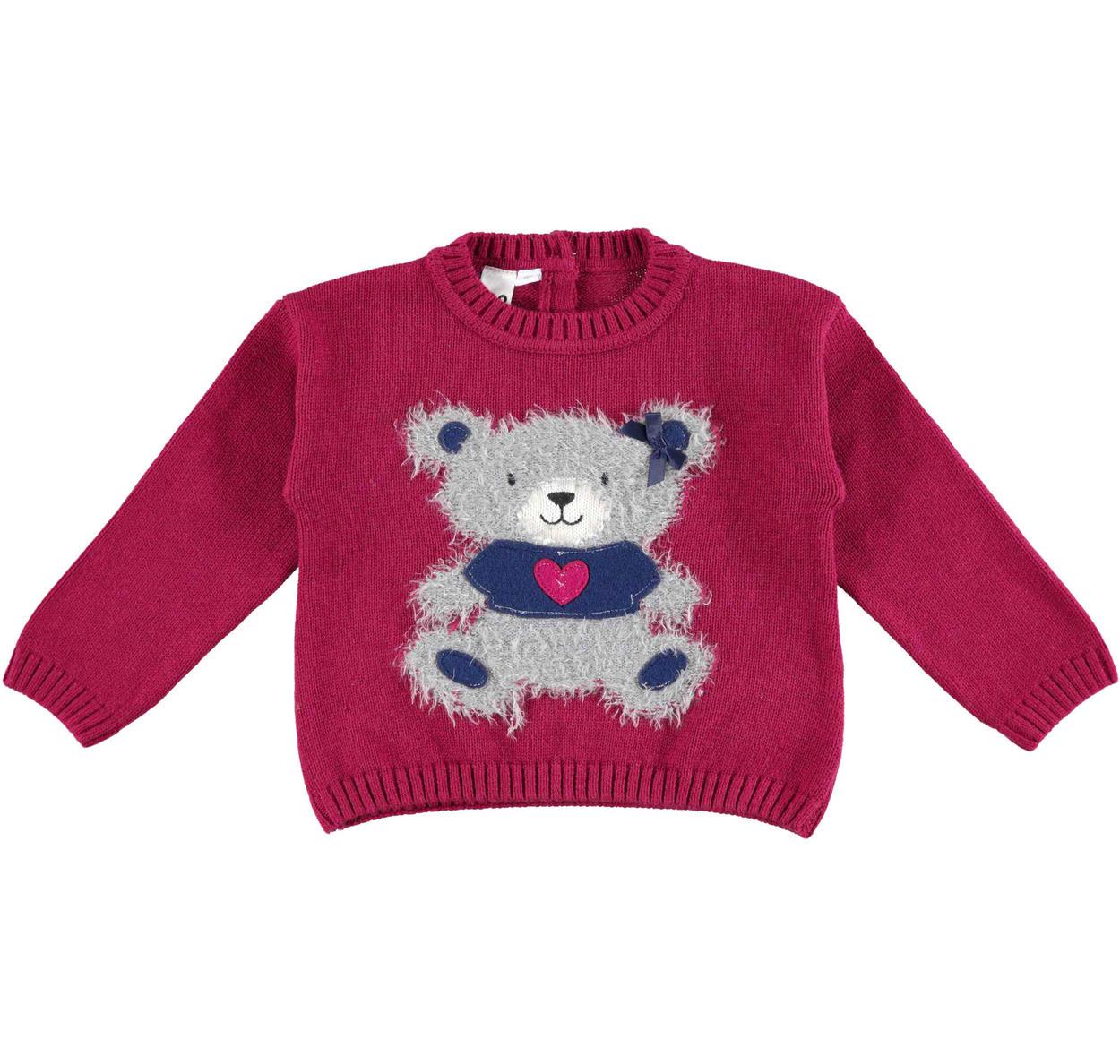 Deliziosa maglia bambina in tricot misto cotone e lana vestibilità da 6 mesi a 7 anni iDO