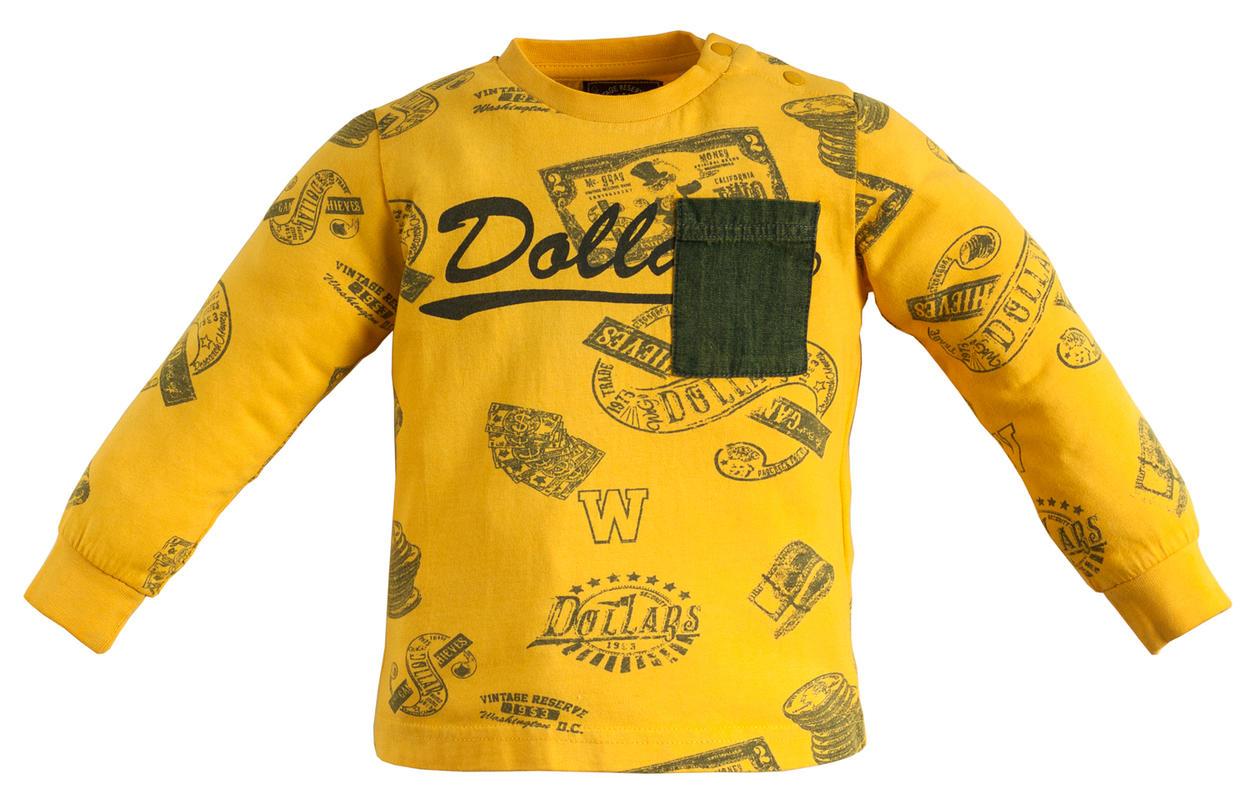872bfb3528 Maglietta girocollo 100% cotone con taschino in denim per bambino da 6 mesi  a 7 anni Sarabanda