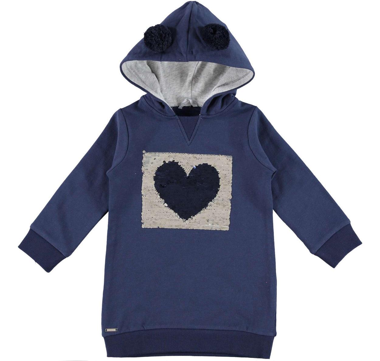 nuovo prodotto 59d6f a8731 Abitino in felpa con cuore di paillettes reversibili per bambina da 6 mesi  a 7 anni Sarabanda
