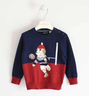 Maglia in tricot invernale lavorazione bicolor sarabanda ROSSO-2536