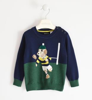 Maglia in tricot invernale lavorazione bicolor sarabanda NAVY-3854