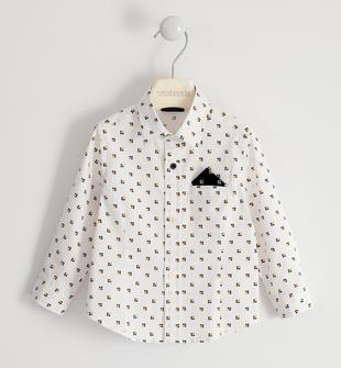 Camicia in popeline con pochette sarabanda BIANCO-MULTICOLOR-6NJ9