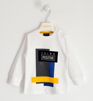 Maglietta girocollo in jersey 100% cotone con stampa sarabanda BIANCO-0113
