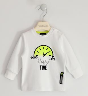 Maglietta girocollo 100% cotone con stampa a rilievo sarabanda BIANCO-0113