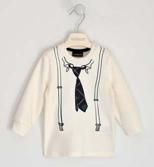 Girocollo in interlock 100% cotone con stampa cravatta e bretelle sarabanda PANNA-0112