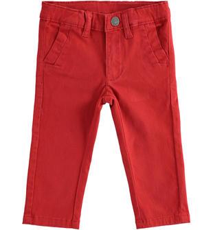 Pantalone classico in twill elasticizzato sarabanda ROSSO-2536