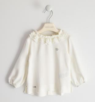 Camicia in twill 100% cotone con collo in organza plissettata sarabanda PANNA-0112