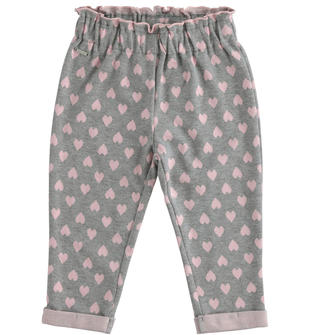 Pantalone in maglia con fantasia di cuori sarabanda GRIGIO MELANGE-8867