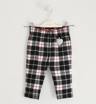 Pantalone con cuore e fantasia a quadri sarabanda NERO-0658