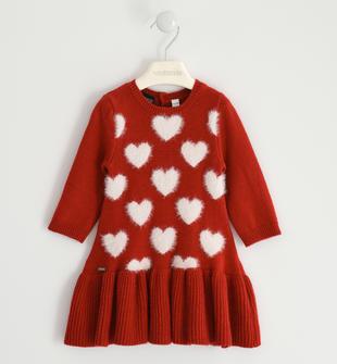 Romantico abito in tricot con cuori sarabanda ROSSO-2253
