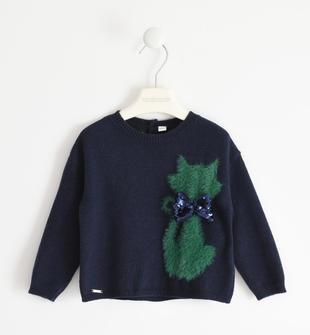 Maglione girocollo con gattino sarabanda NAVY-3885