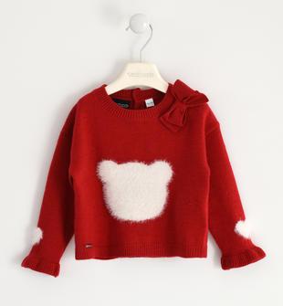 Maglione in tricot con intarsio a sagoma orso sarabanda ROSSO-2253