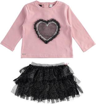Grazioso completo maglietta con cuore e gonna in tulle sarabanda NERO-0658