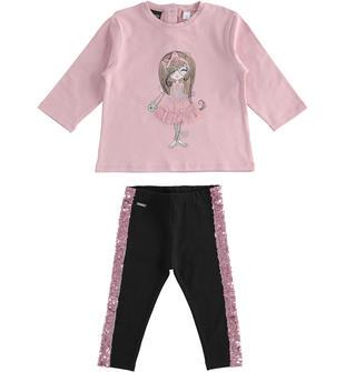 Completo maglietta e leggings con paillettes sarabanda NERO-0658