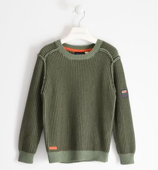 Maglia girocollo a coste in tricot sarabanda VERDE MILITARE-5557