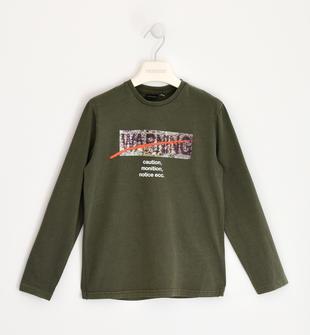Maglietta girocollo a manica lunga 100% cotone con stampa sarabanda VERDE MILITARE-5557