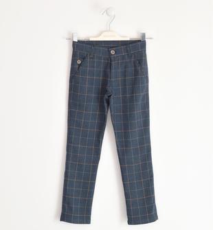 Elegante pantalone stampa a quadri sarabanda BLU-BEIGE-8030