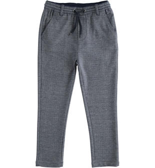 Elegante pantalone con coulisse sarabanda BLU-BIANCO-8004