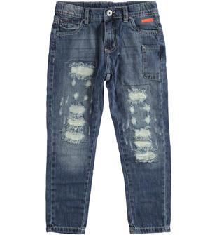 Pantalone in denim 100% cotone con rotture sarabanda SOVRATINTO BEIGE-7180