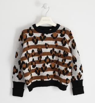 Maglia girocollo in tricot fantasia animalier sarabanda PANNA-0112
