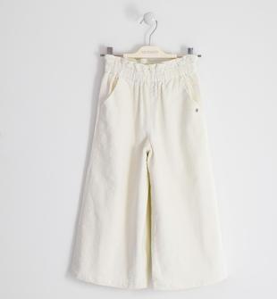 Pantalone palazzo in velluto sarabanda BIANCO-0113