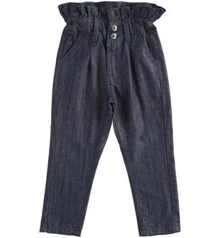 Pantalone modello paper bag in denim sarabanda BLU-7750