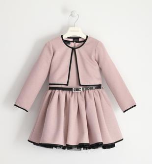 Elegante abito smanicato con giacchina in abbinamento sarabanda PINK-2714