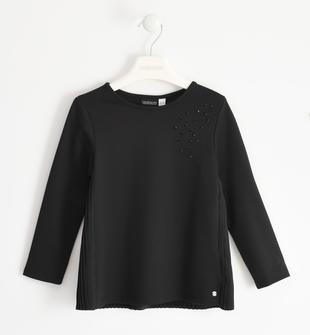 Elegante camicia in punto milano con strass sarabanda NERO-0658
