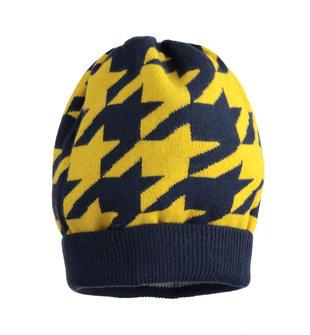 Cappello modello cuffia fantasia pied de poule sarabanda NAVY-3885