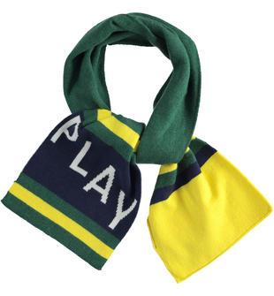 Colorata sciarpa in tricot con scritta