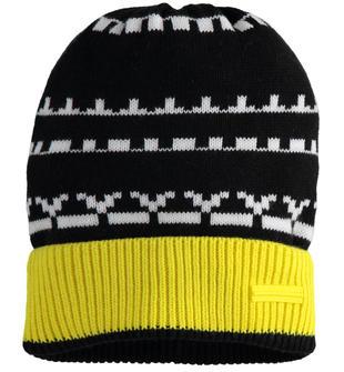 Cappello modello cuffia con fantasia geometrica sarabanda NERO-0658