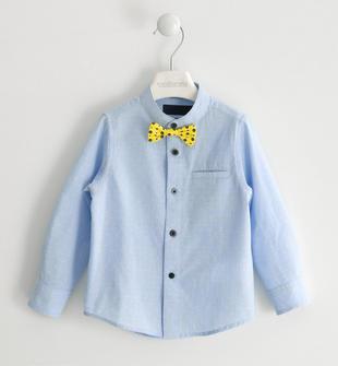 Camicia 100% cotone con papillon e pochette sarabanda AZZURRO-3674