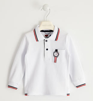 Polo in piquet stretch con toppe sarabanda BIANCO-0113