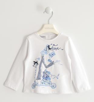 Graziosa maglietta girocollo in jersey stretch sarabanda BIANCO-0113