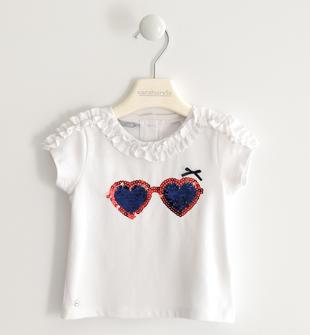 T-shirt con ricamo di paillettes sarabanda BIANCO-0113