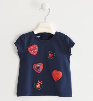 T-shirt in jersey stretch con cuori applicati sarabanda NAVY-3854