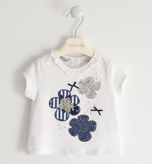 T-shirt con fiori di paillettes sarabanda BIANCO-0113
