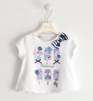 Fresca t-shirt in jersey stretch con stampa gelati sarabanda BIANCO-0113