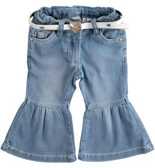Morbido pantalone in denim maglia con fondo a campana sarabanda BLU CHIARO LAVATO-7310