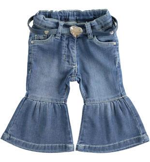 Morbido pantalone in denim maglia con fondo a campana sarabanda STONE WASHED-7450
