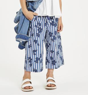 Pantalone in popeline stampato a righe sarabanda BIANCO-INDIGO-6MR6