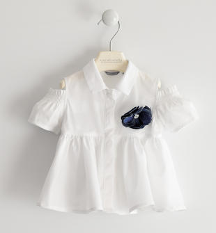 Camicia in popeline svasata sarabanda BIANCO-0113