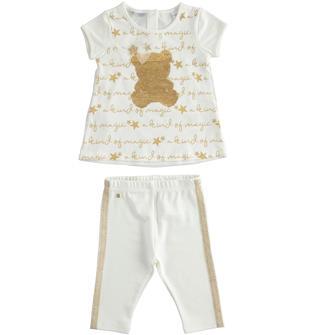 Luminoso completo maxi maglia con orsetto e leggings sarabanda PANNA-0112