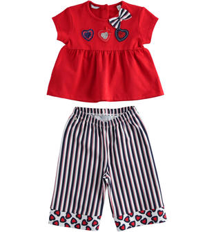 Completo in jersey stretch t-shirt e pantalone crop sarabanda ROSSO-2256