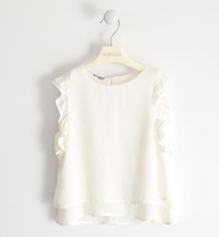 Graziosa camicia in tessuto crêpe sarabanda PANNA-0112